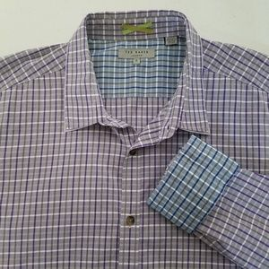 Ted Baker Mens Plaid Button Front Flip Cuff Shirt